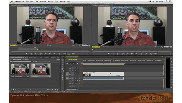 Replacing the clip with an After Effects composition: Premiere Pro and After Effects: Adding Handle to Sound Bites
