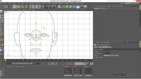 Setting up templates in the viewport: Modeling Characters in CINEMA 4D