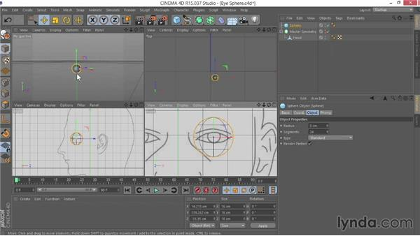 Creating the eyeball with a sphere: Modeling Characters in CINEMA 4D