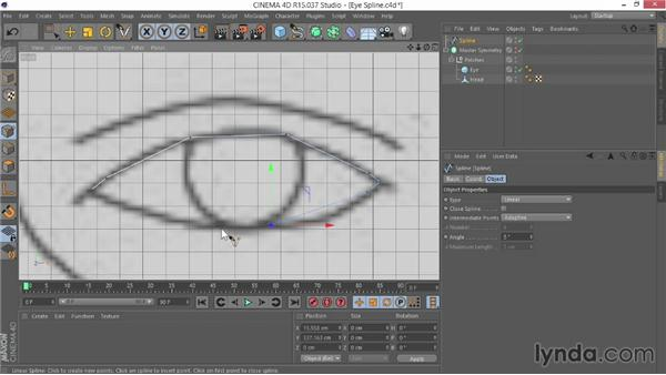 Creating the first spline for the eye: Modeling Characters in CINEMA 4D