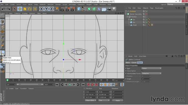 Creating the sweep for the ear: Modeling Characters in CINEMA 4D