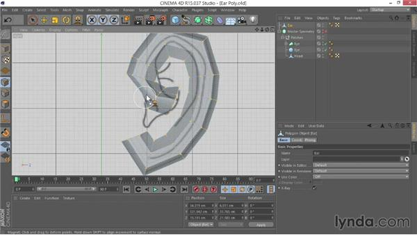 Completing the polygonal first pass: Modeling Characters in CINEMA 4D