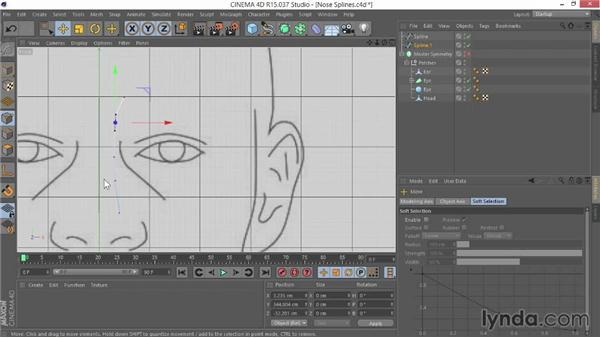 Creating the nose splines: Modeling Characters in CINEMA 4D