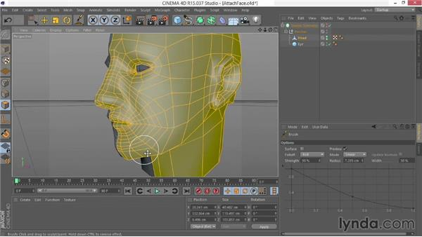 Attaching the face to the head model: Modeling Characters in CINEMA 4D