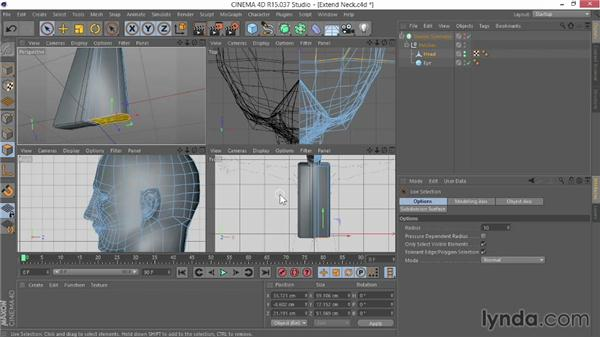 Extending the neck into a torso shape: Modeling Characters in CINEMA 4D