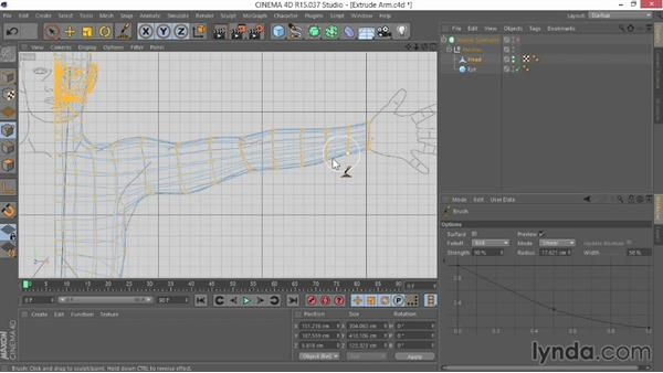 Extruding the arm: Modeling Characters in CINEMA 4D
