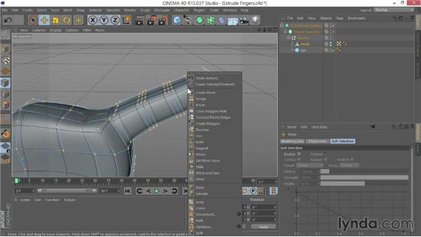 Extruding the fingers: Modeling Characters in CINEMA 4D
