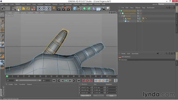 Cloning the fingers to attach them to the palm: Modeling Characters in CINEMA 4D