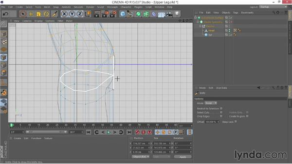 Extruding the upper legs: Modeling Characters in CINEMA 4D