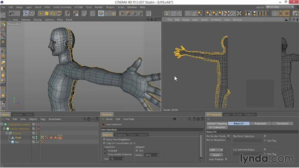 Setting up the UVs for the model: Modeling Characters in CINEMA 4D
