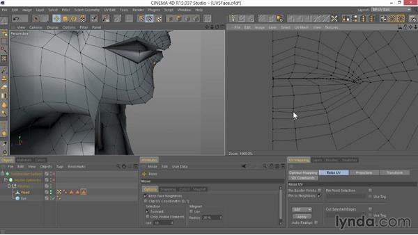 Setting up the UVs for the head: Modeling Characters in CINEMA 4D