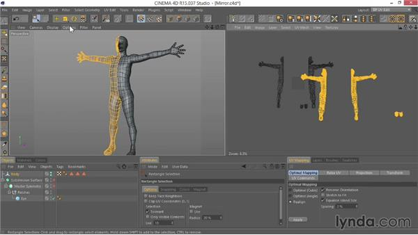 Mirroring the polygons and UVs to build the other side: Modeling Characters in CINEMA 4D