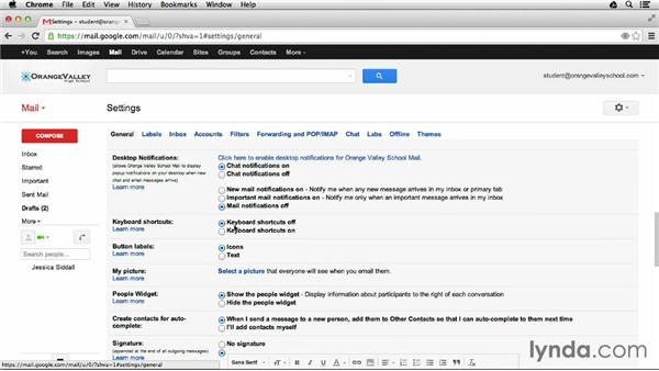 Using keyboard shortcuts: Google Apps for Students