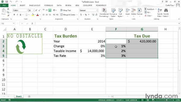 Defining a one-variable data table: Up and Running with Excel What-If Analysis