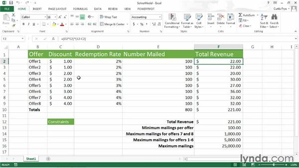 Setting up a Solver worksheet: Up and Running with Excel What-If Analysis