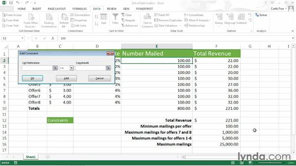 Defining constraints and running Solver: Up and Running with Excel What-If Analysis