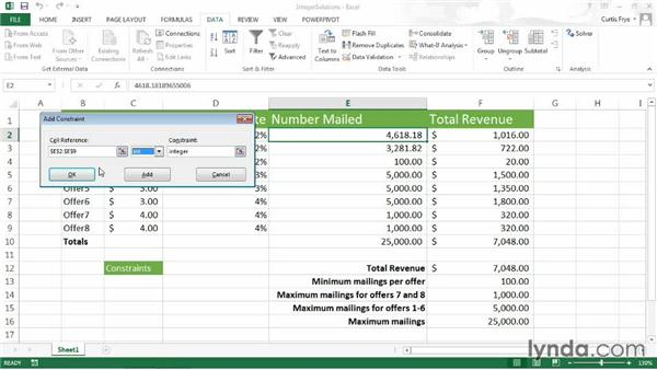 Requiring integer solutions: Up and Running with Excel What-If Analysis