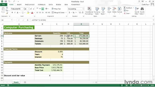 Organizing your analysis worksheet: Up and Running with Excel What-If Analysis
