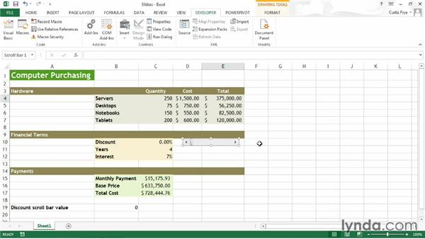 Creating a slider: Up and Running with Excel What-If Analysis