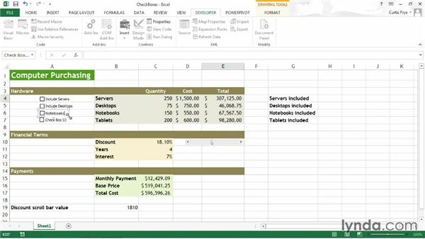 Creating check boxes: Up and Running with Excel What-If Analysis