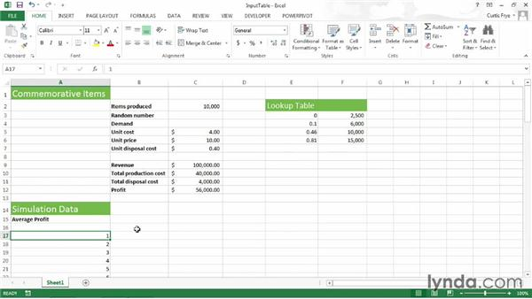 Creating an input table: Up and Running with Excel What-If Analysis