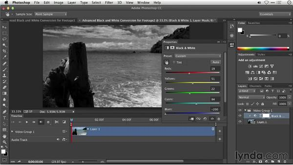 Advanced black-and-white conversion for footage: Repairing and Enhancing Video