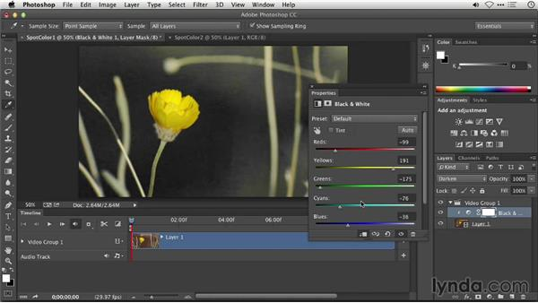 Creating a spot color effect in Photoshop: Repairing and Enhancing Video