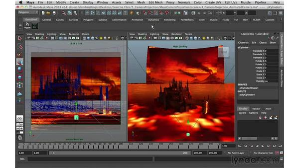 Adding cylinders for the front towers: Digital Matte Painting Essentials 5: Camera Projection in Maya