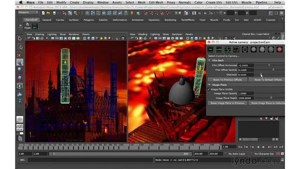 Adding spheres for the domes: Digital Matte Painting Essentials 5: Camera Projection in Maya
