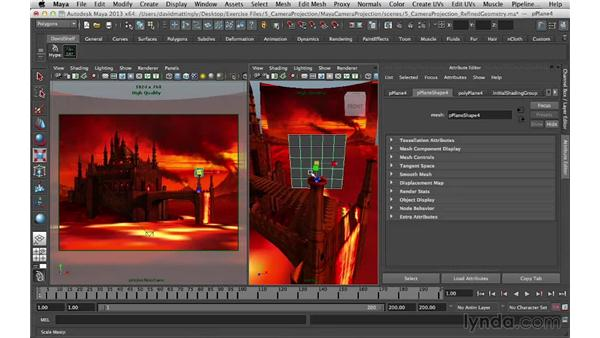 Adding flames: Digital Matte Painting Essentials 5: Camera Projection in Maya