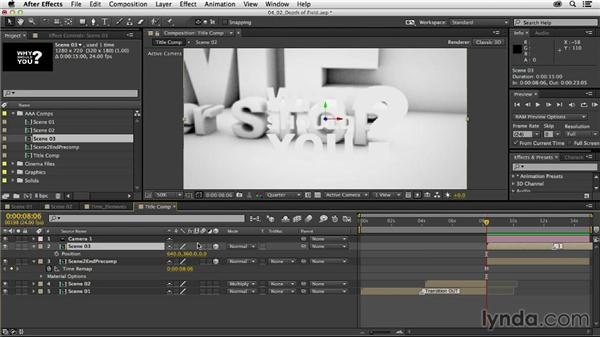 Building depth-of-field transitions: Mograph Techniques: Dynamic Camera Movement
