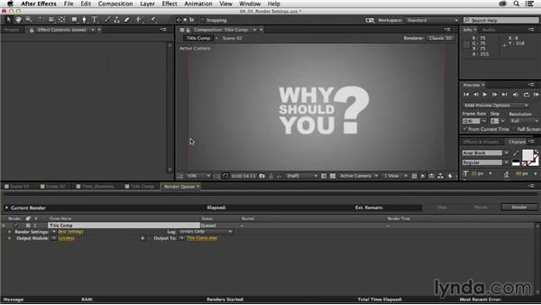 Optimum render settings for final output: Mograph Techniques: Dynamic Camera Movement