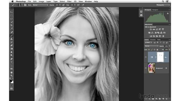 Creating color focus on eyes in a portrait: Photoshop for Photographers: Color Emphasis