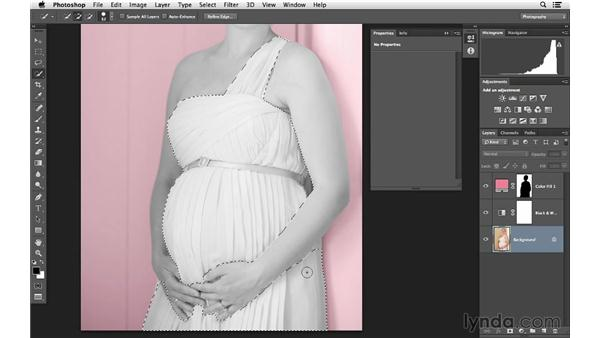 Hand coloring the dress: Photoshop for Photographers: Color Emphasis