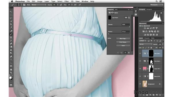 Painting in color to a specific area: Photoshop for Photographers: Color Emphasis