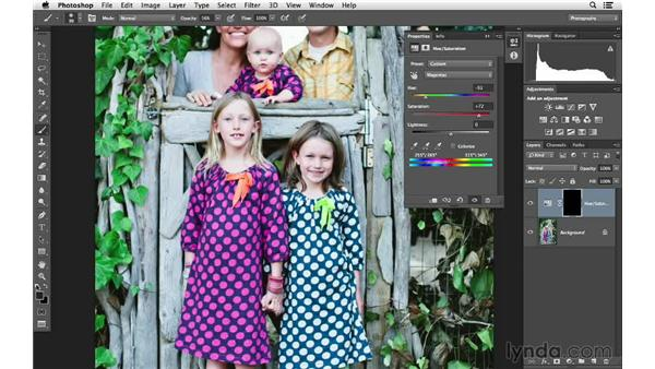 Using the Hue/Saturation Targeted Adjustment tool: Photoshop for Photographers: Color Emphasis