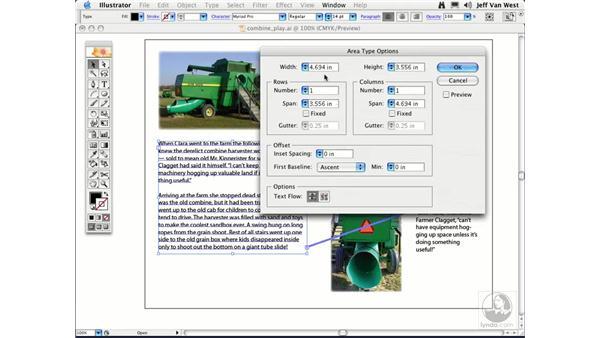 Area Type and Threading: Illustrator CS2 Essential Training