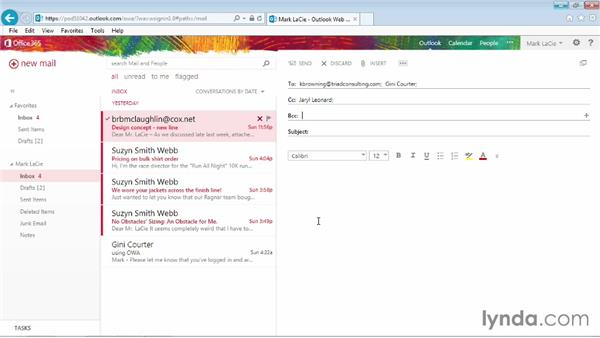 Addressing a message: Outlook Web App (OWA) 2013 Essential Training