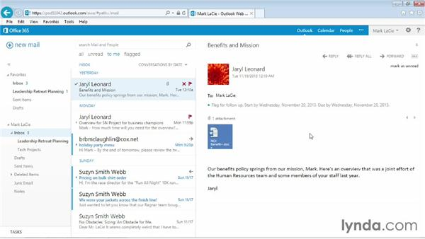 Applying a filter to email: Outlook Web App (OWA) 2013 Essential Training