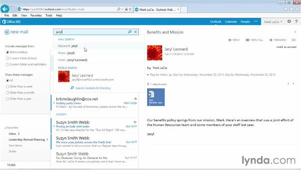 Searching mail and people: Outlook Web App (OWA) 2013 Essential Training