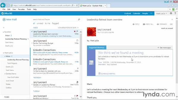 Using the Suggested Meetings app: Outlook Web App (OWA) 2013 Essential Training