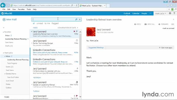 Searching for a person: Outlook Web App (OWA) 2013 Essential Training