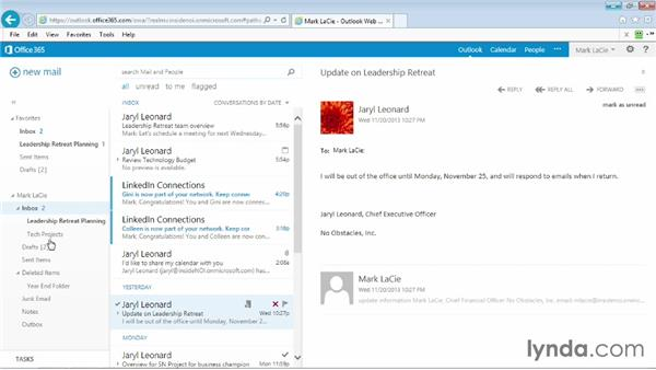 Deleting a task or flagged item: Outlook Web App (OWA) 2013 Essential Training