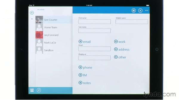 Using contacts in OWA for iPad: Outlook Web App (OWA) 2013 Essential Training