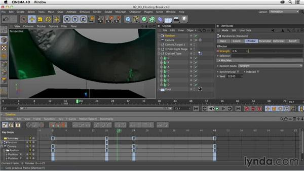 Animating the initial floating break: Mograph Techniques: Fractured 3D Type