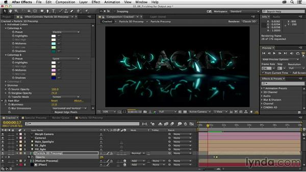 Finishing touches for final output: Mograph Techniques: Fractured 3D Type