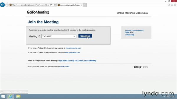 Joining a meeting from the website: Up and Running with GoToMeeting