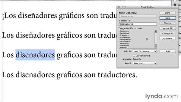 Inserting special characters: Adapting an English Layout into Spanish with InDesign