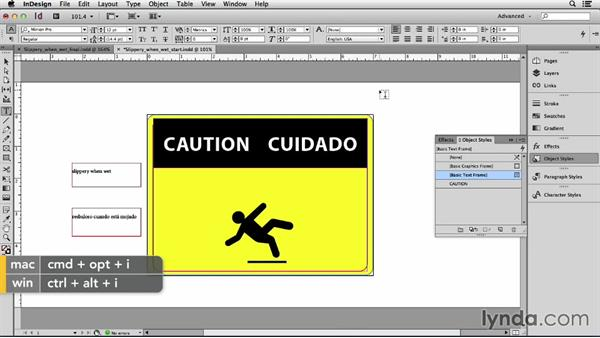 Creating a more complex sign: Adapting an English Layout into Spanish with InDesign