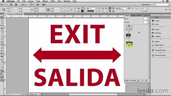 Creating multiple signs in one file: Adapting an English Layout into Spanish with InDesign